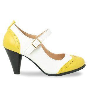 Women's Yellow/White Two Tone Mary Jane Retro Pump